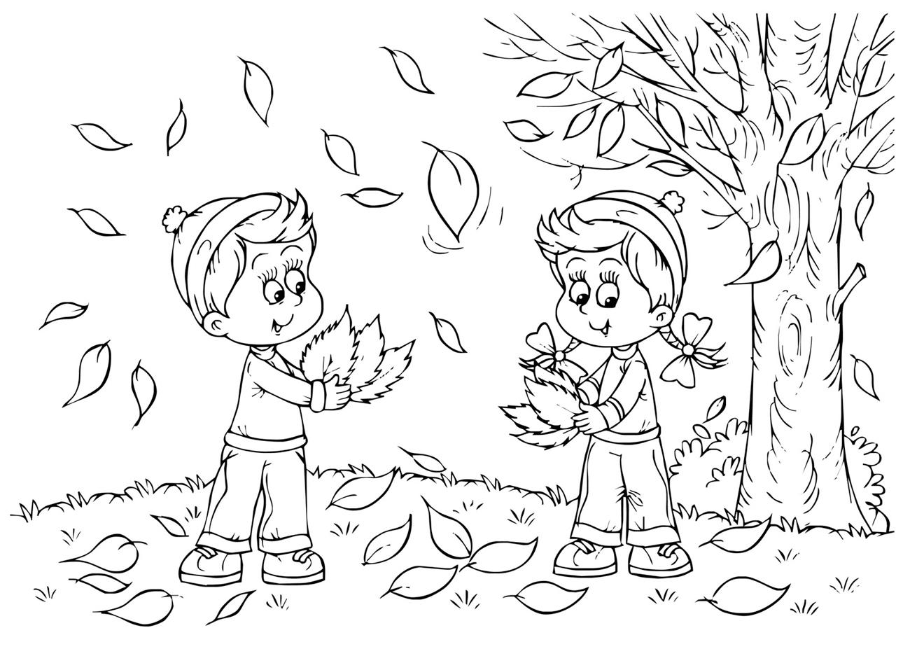 Раскраска Осень за окном распечатать или скачать бесплатно