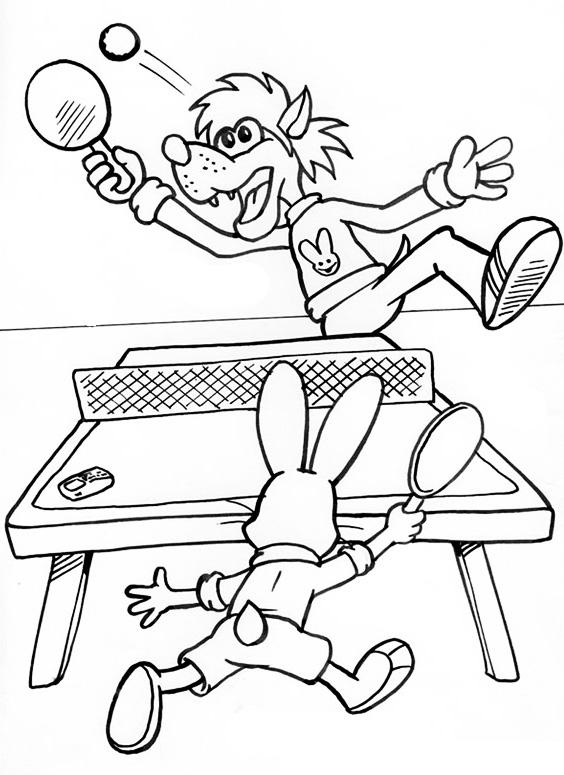 Раскраска Волк и заяц играют в теннис распечатать или ...