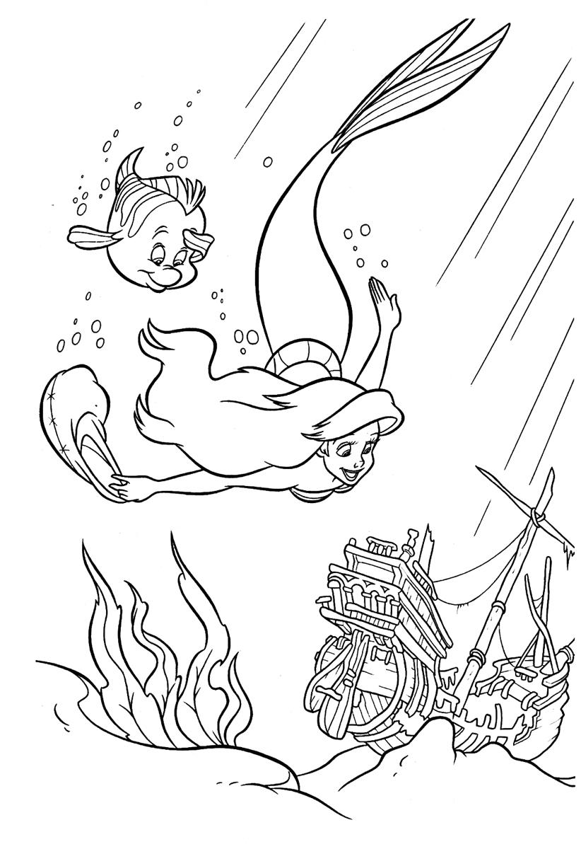 Раскраска Русалочка и затонувший корабль распечатать или ...