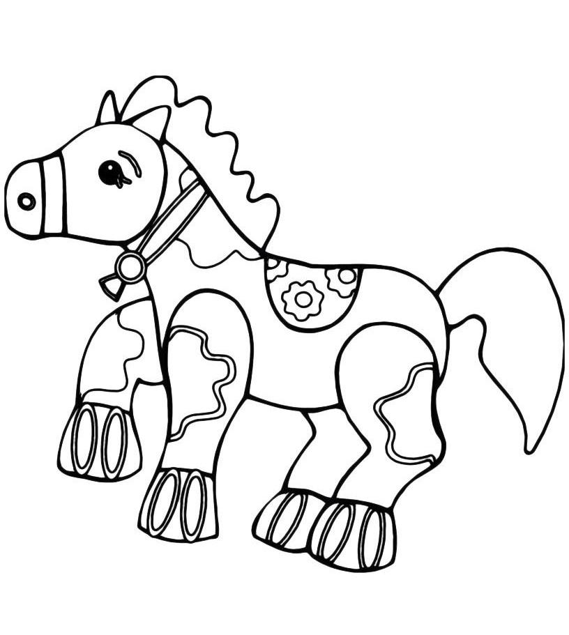 Раскраска Игрушечная лошадка распечатать или скачать бесплатно