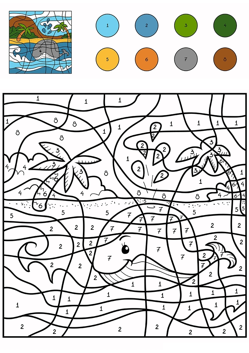 Раскраска Кит возле острова по цифрам распечатать или ...