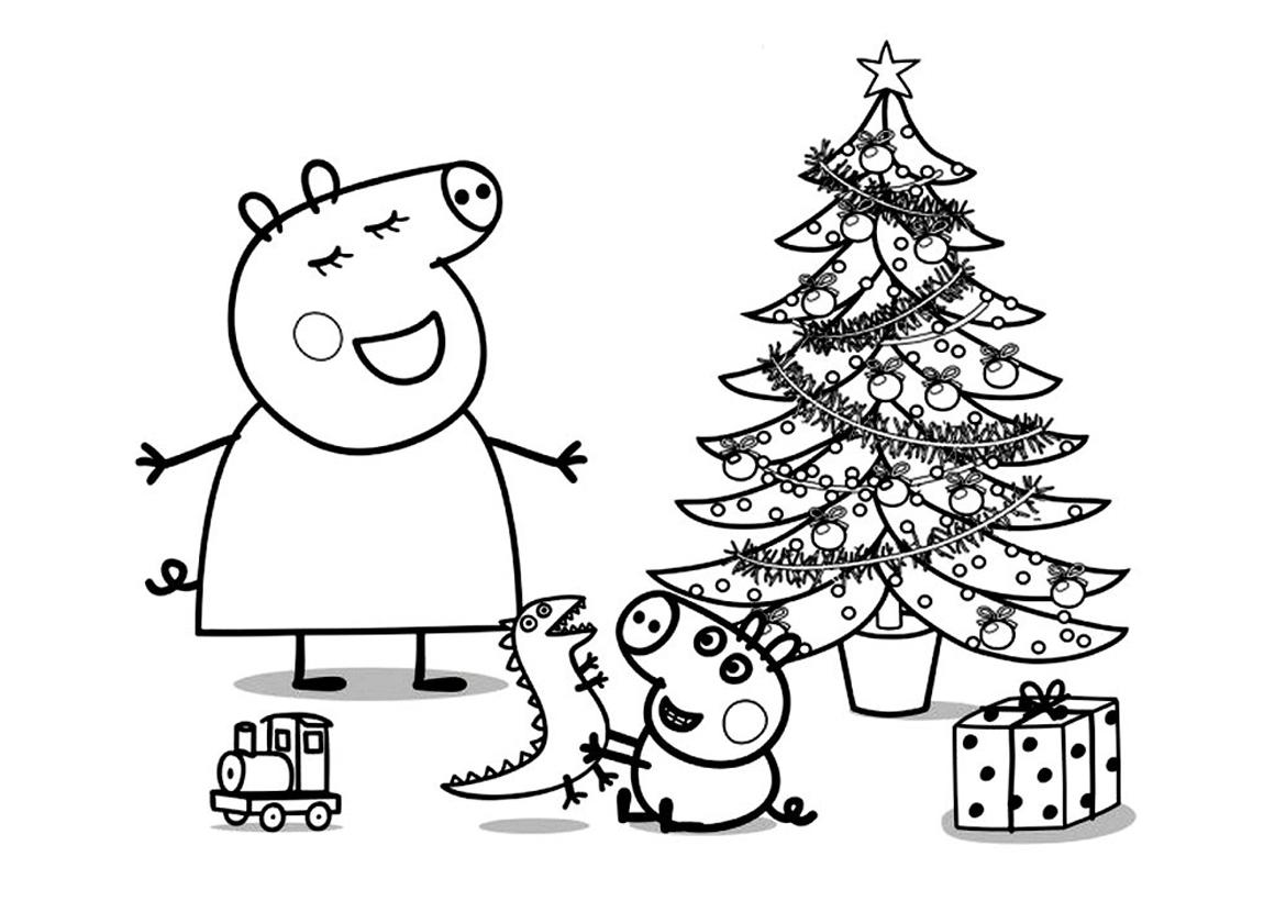 Раскраска Пеппа на Новый год распечатать или скачать бесплатно