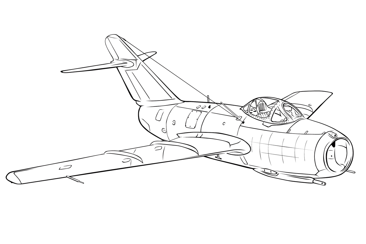 раскраска самолет миг 15 распечатать или скачать бесплатно