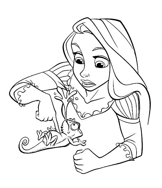 Раскраска Рапунцель и хамелеон Паскаль распечатать или ...