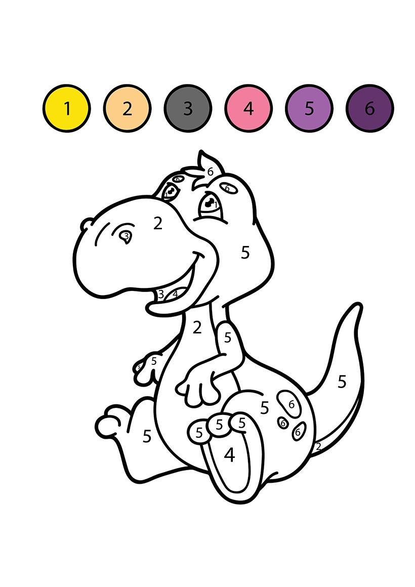 Раскраска Динозавр по цифрам распечатать или скачать бесплатно