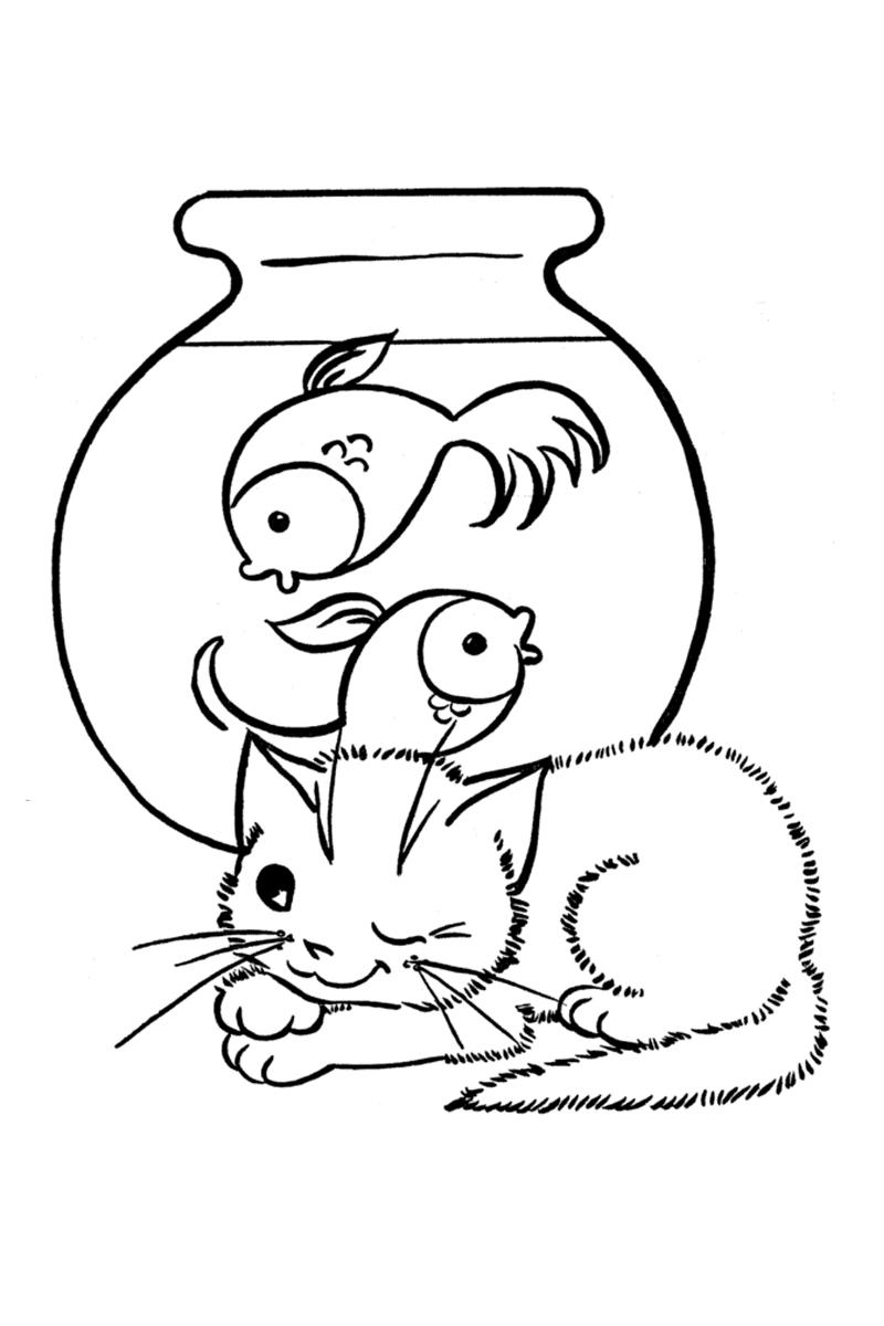 Раскраска Рыбы в аквариуме и кот распечатать или скачать ...