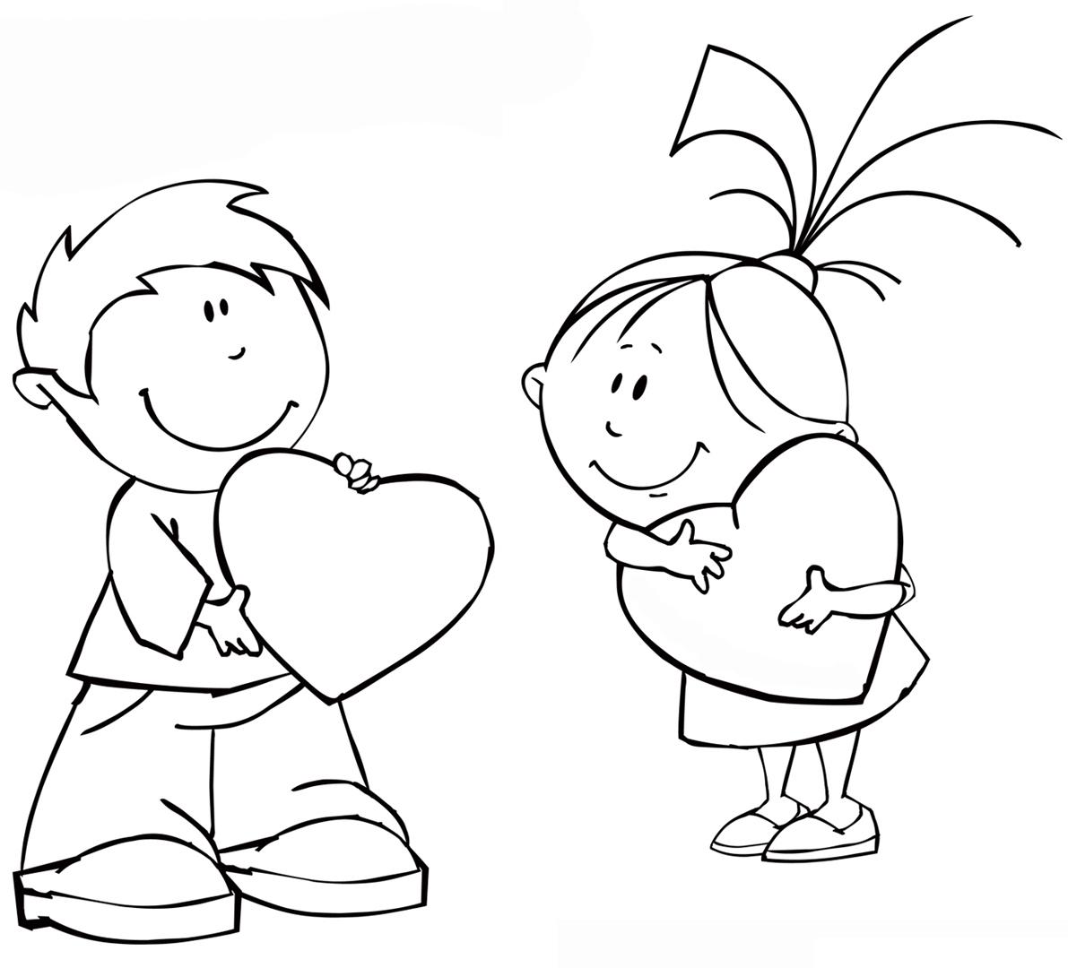 Раскраска Валентинки у мальчика и девочки распечатать или ...