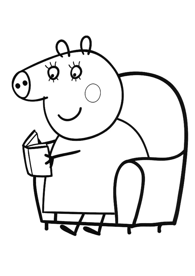 Раскраска Мама Свинка читает книгу распечатать или скачать ...