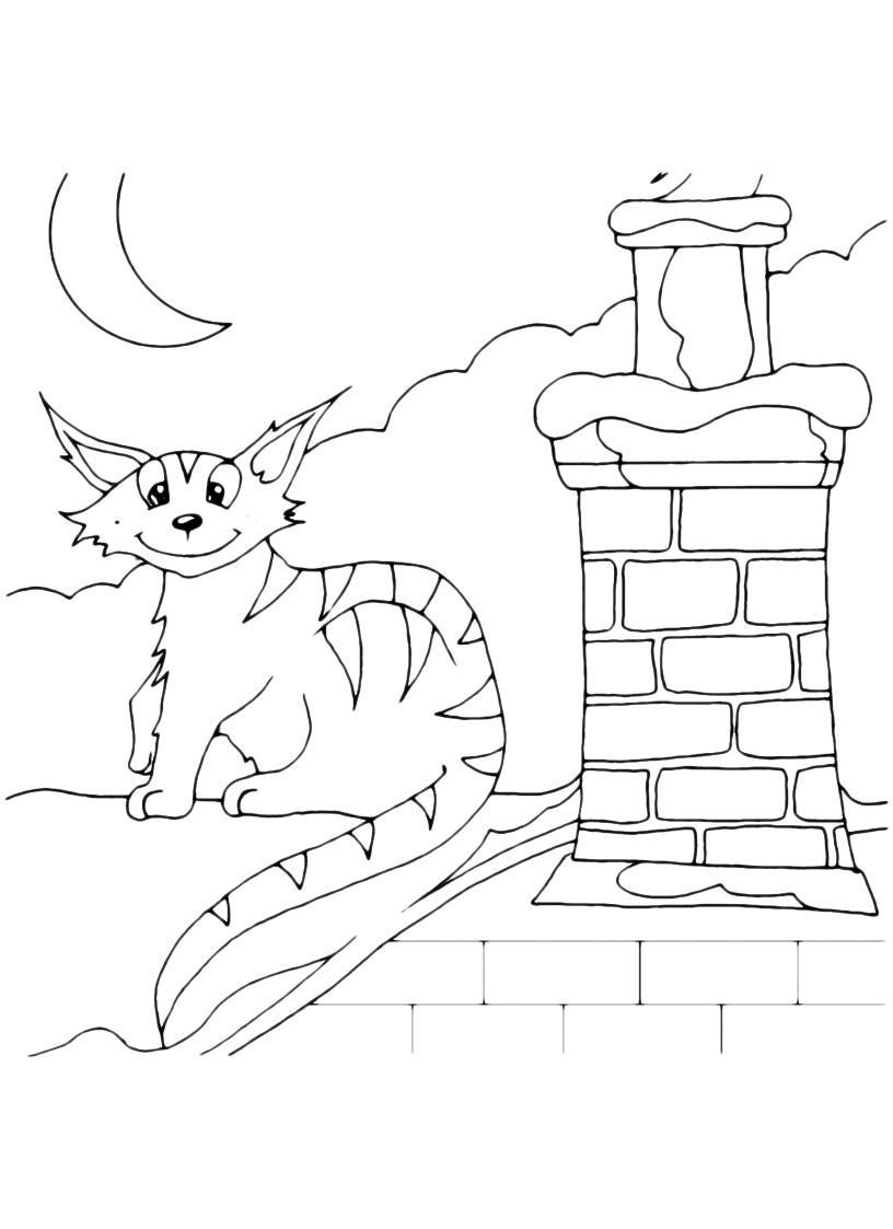 Раскраска Кот забрался на крышу ночью распечатать или ...