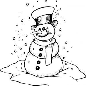 Раскраска Снеговик с открыткой-сердечком распечатать или ...