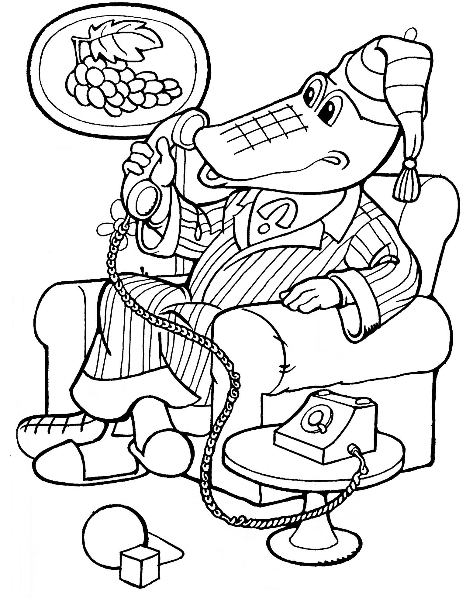 Раскраска Крокодил Гена разговаривает по телефону ...