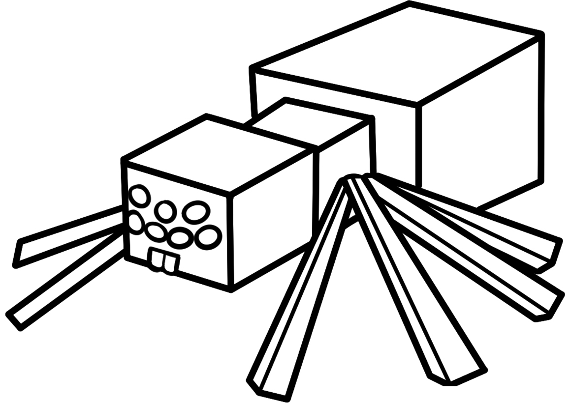 Раскраска Паук Minecraft распечатать или скачать бесплатно