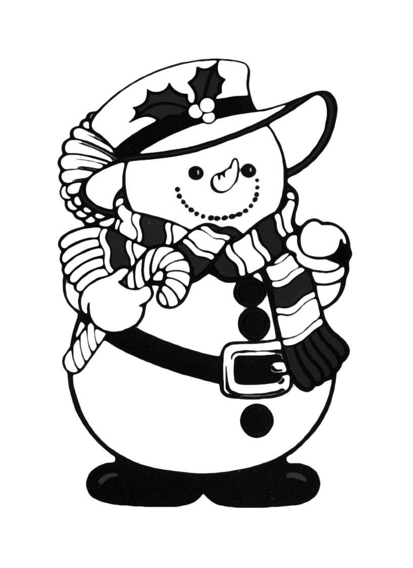 Раскраска Забавный снеговик в модной одежке распечатать ...