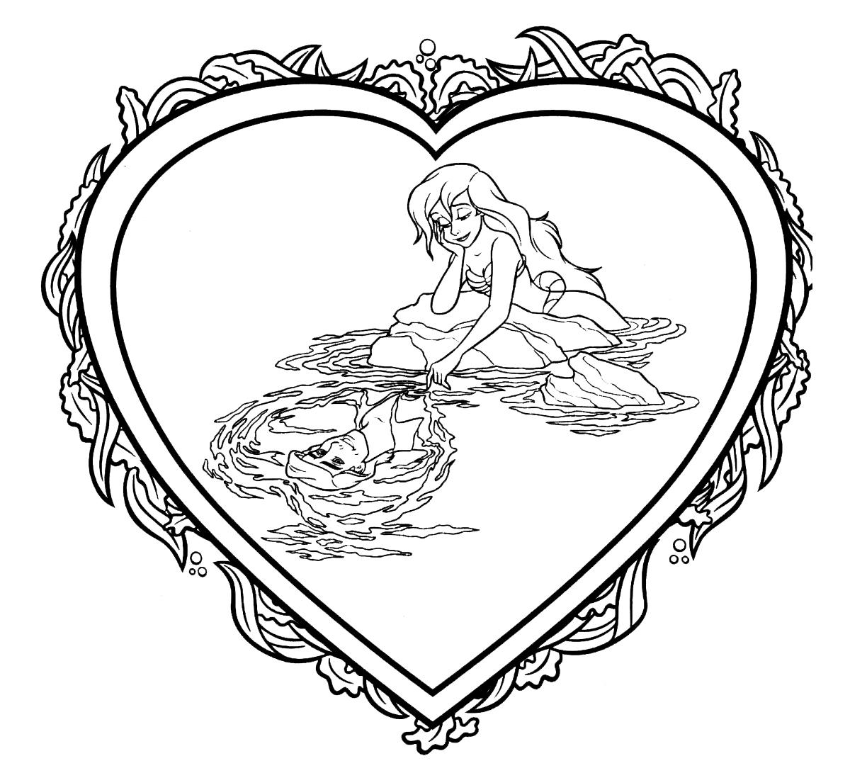 Раскраска Валентинка с Ариэль распечатать или скачать ...