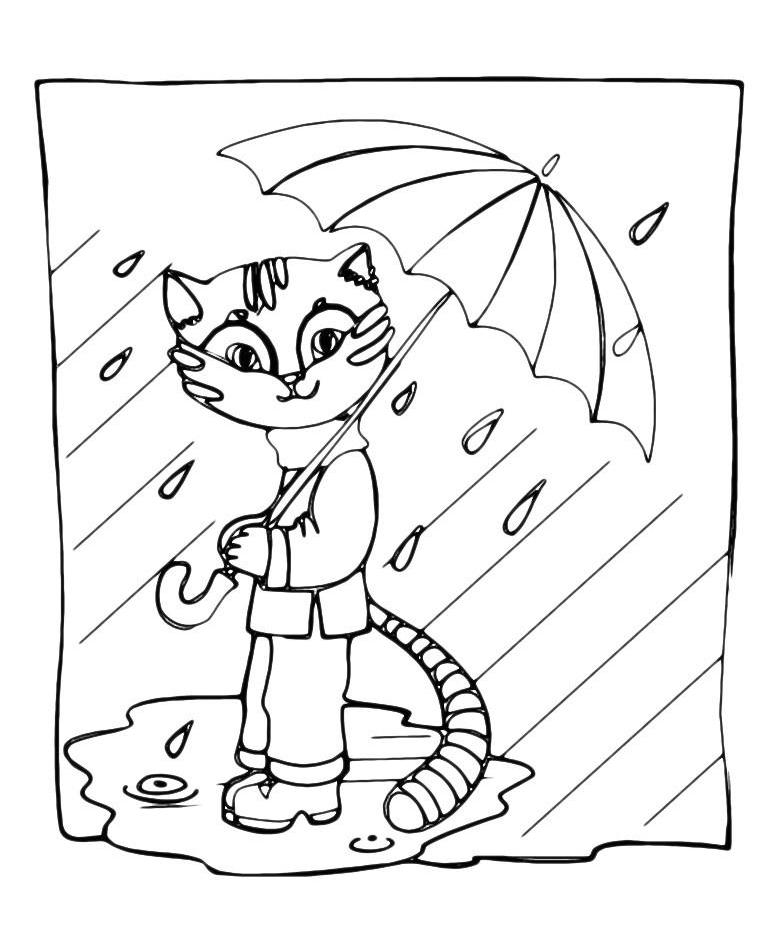 Раскраска Кот в сапогах под зонтом распечатать или скачать ...