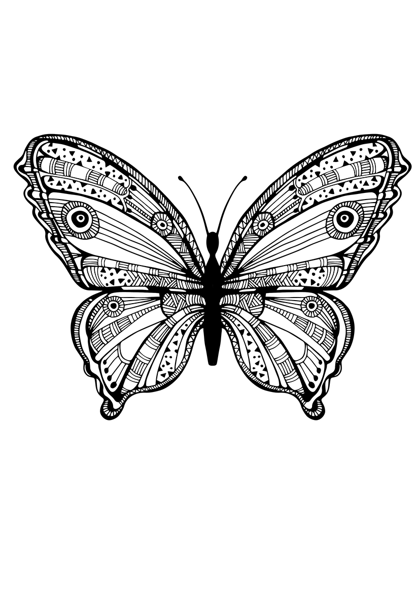 Раскраска Бабочка в дудл узорах распечатать или скачать ...