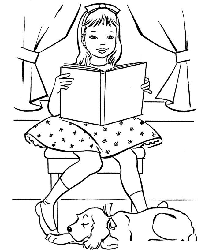 Раскраска Собака спит, пока девочка читает книгу ...
