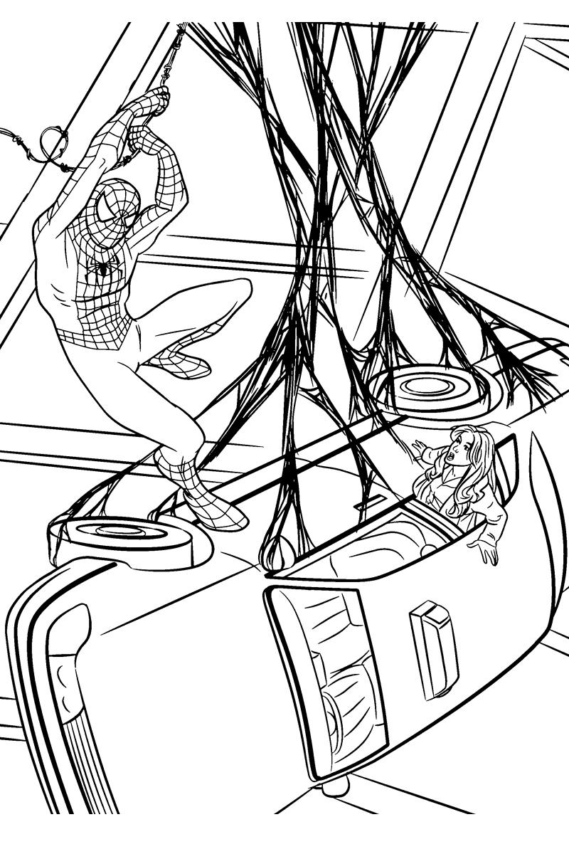Раскраска Человек паук спасает девушку распечатать или ...