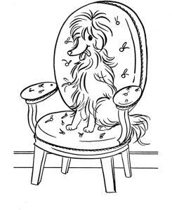 Раскраска Собака катается на санках распечатать или ...