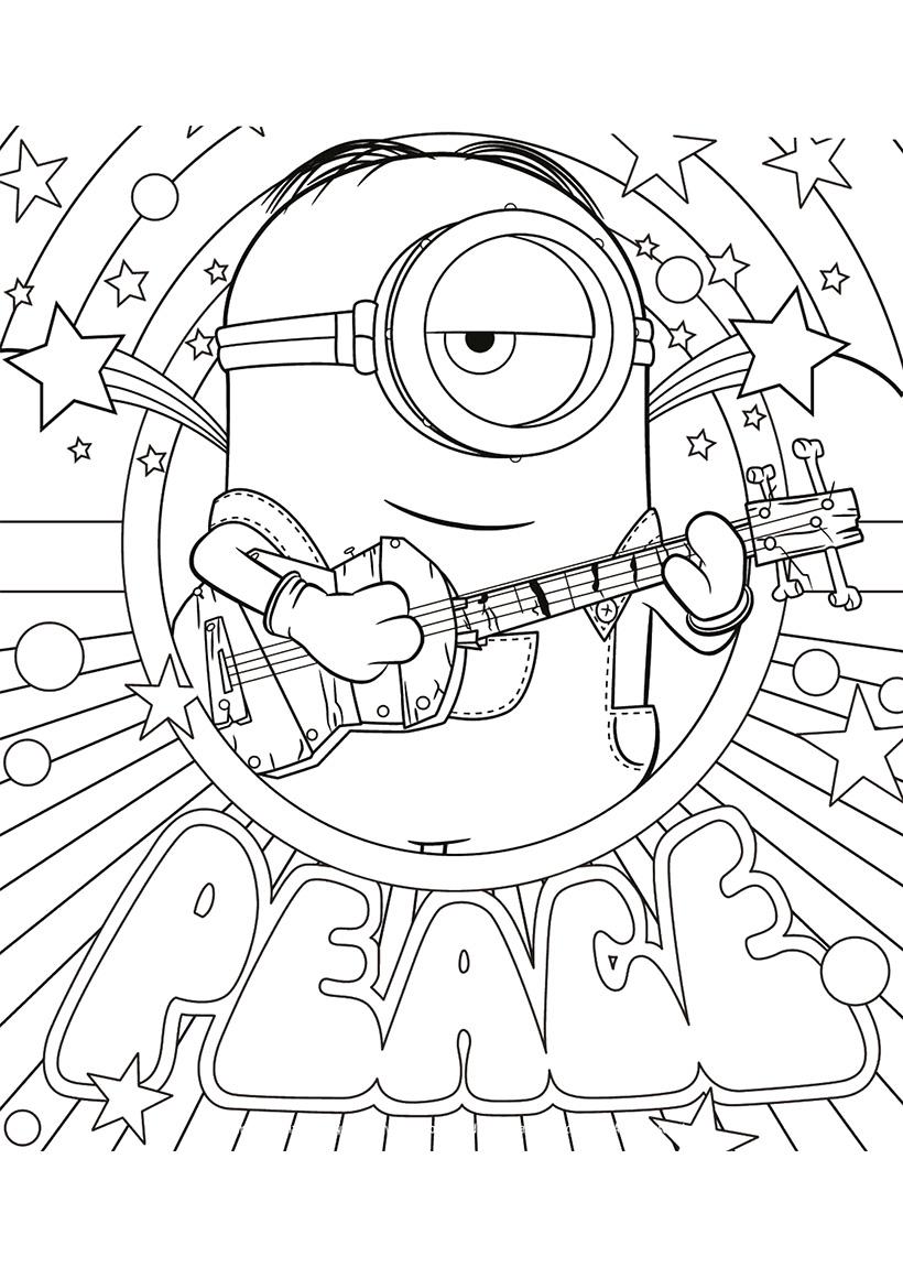 Раскраска Стюарт с гитарой распечатать или скачать бесплатно