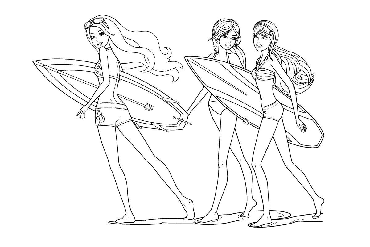 Раскраска Мерлия с доской для серфинга распечатать или ...