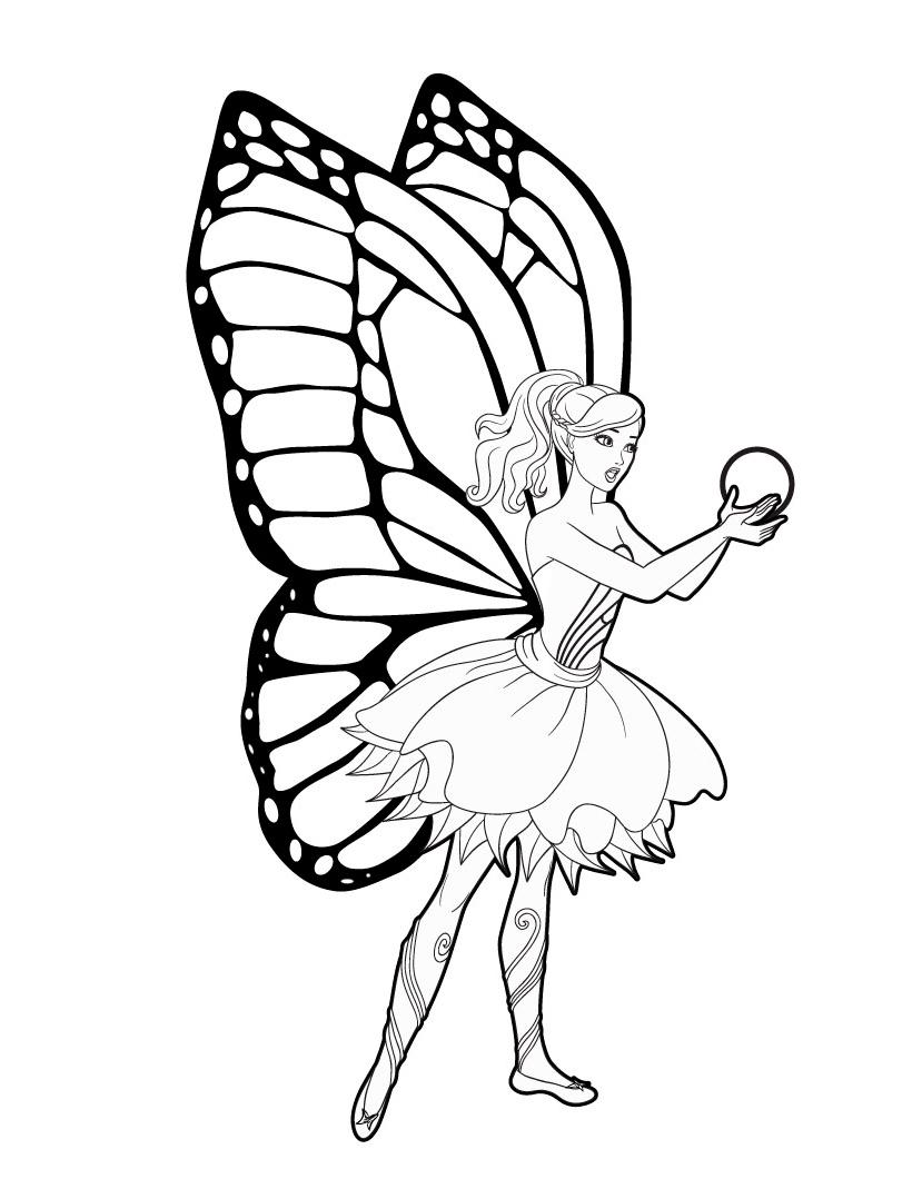 Раскраска Барби с фейскими крыльями распечатать или ...