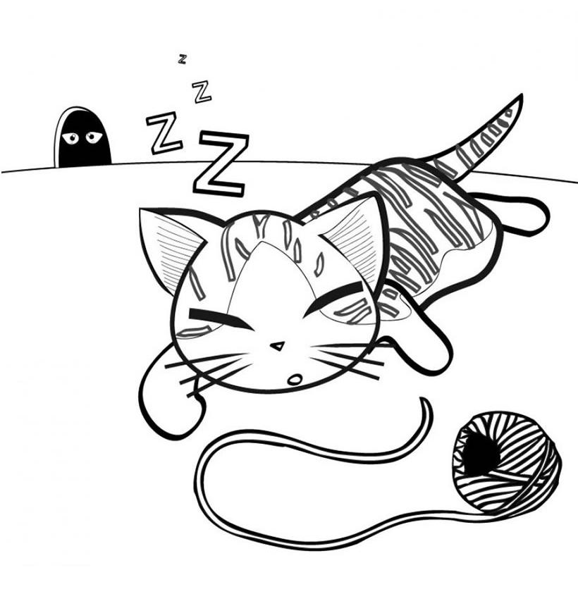 Раскраска Мышки следят за кошкой распечатать или скачать ...