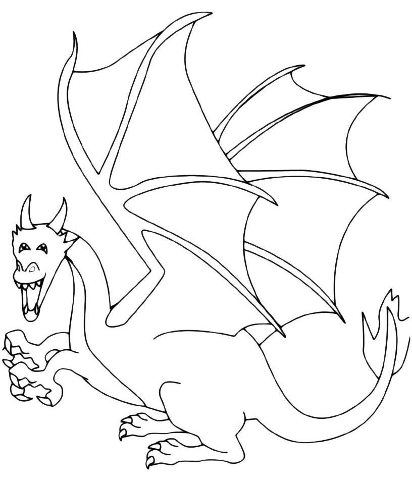 Раскраска Крылатый дракон распечатать или скачать бесплатно
