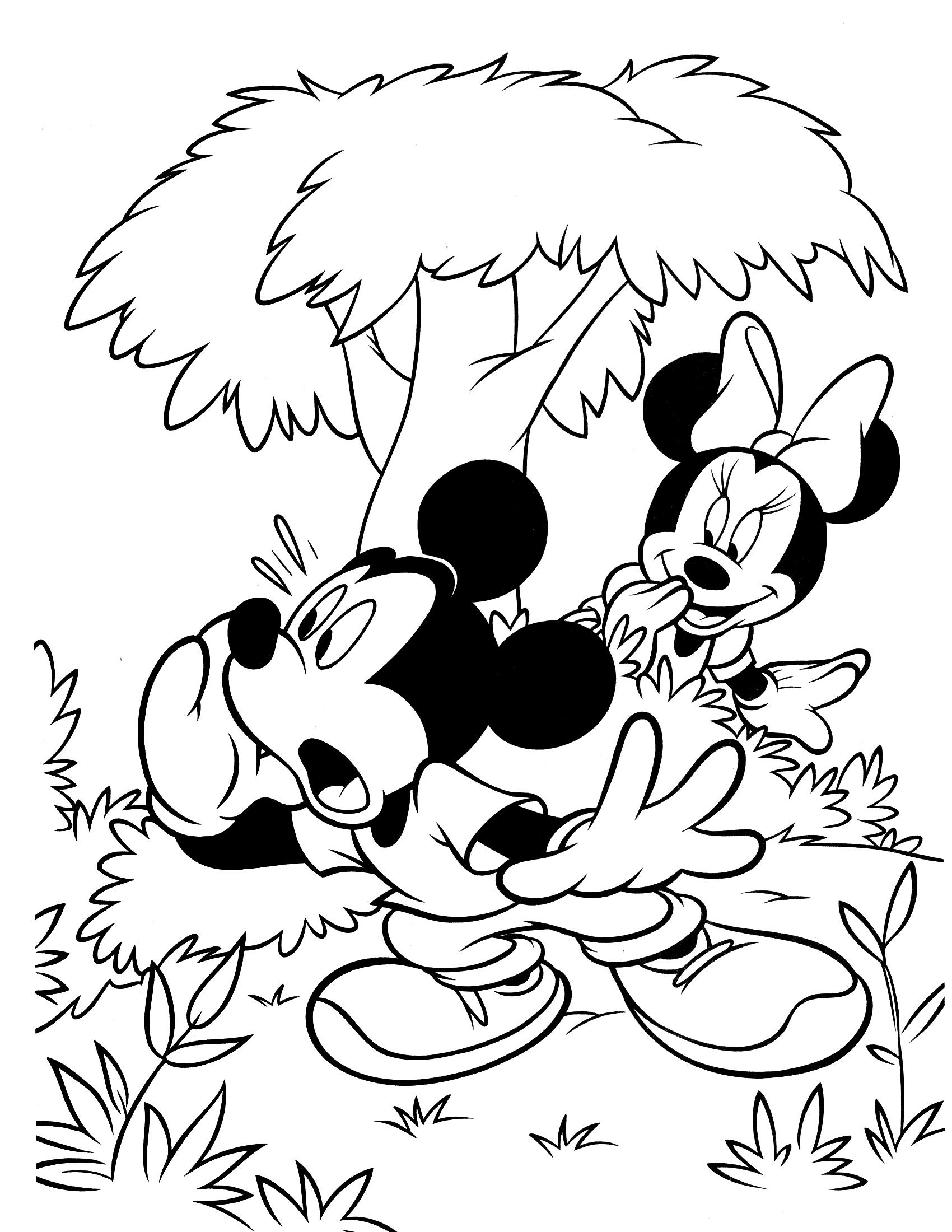 Раскраска Игра в прятки с Микки Маусом и Минни распечатать ...