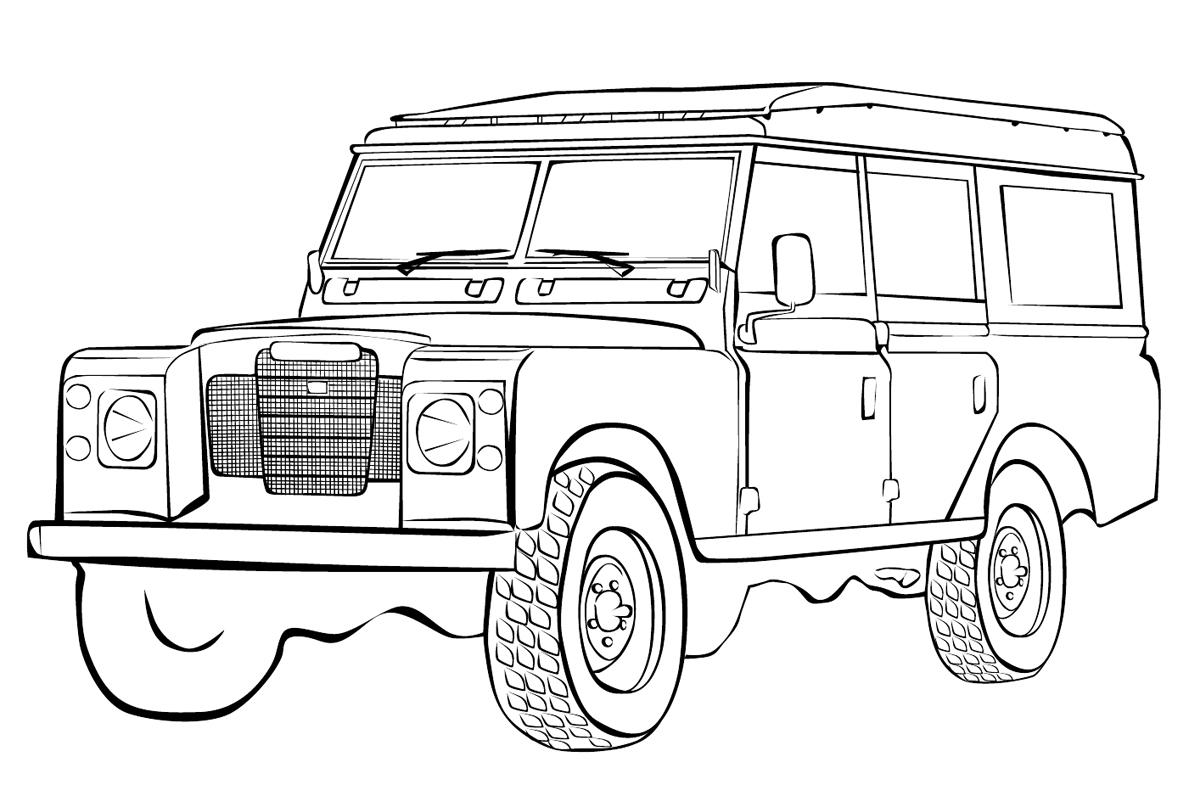 Раскраска Машина Ленд Ровер распечатать или скачать бесплатно