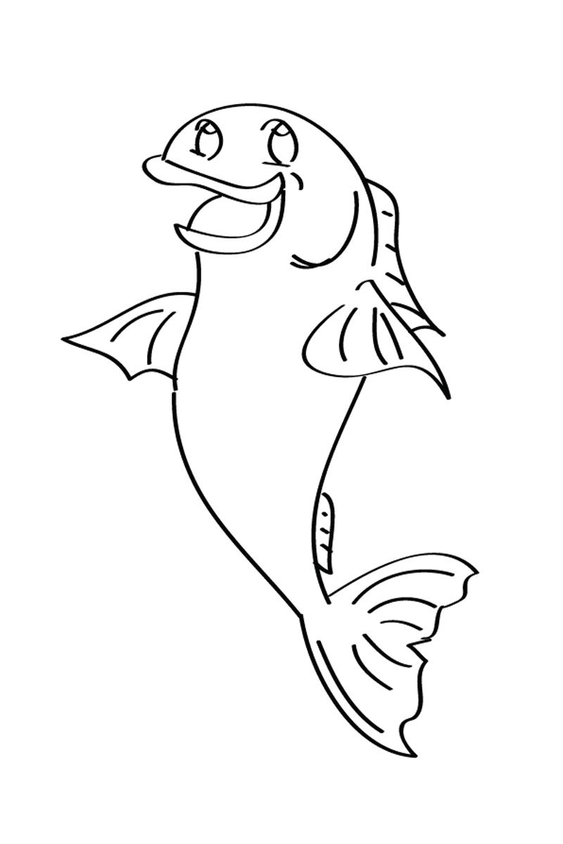 Раскраска Детская рыбка распечатать или скачать бесплатно