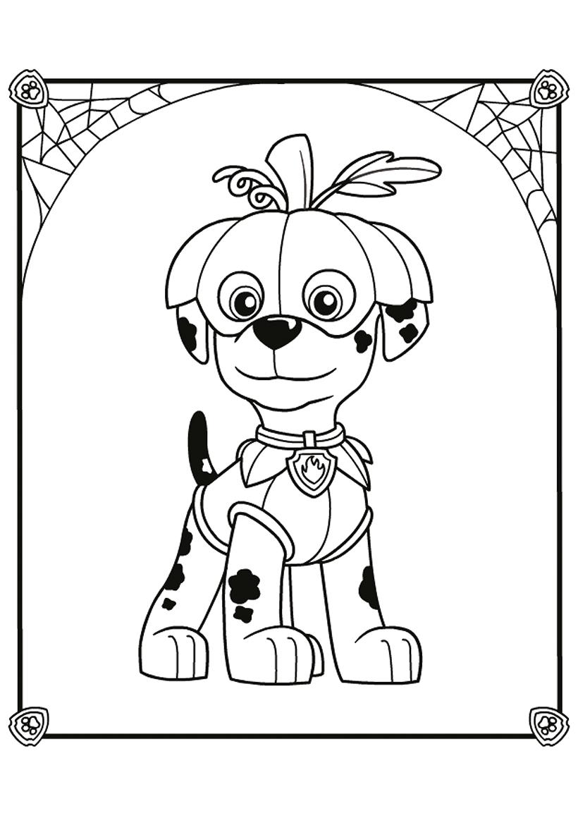 Раскраска Маршал на Хэллоуин распечатать или скачать бесплатно