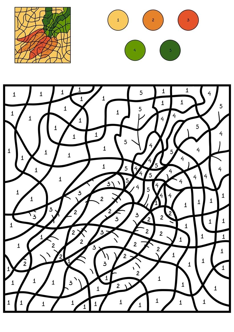Раскраска Морковь по цифрам распечатать или скачать бесплатно