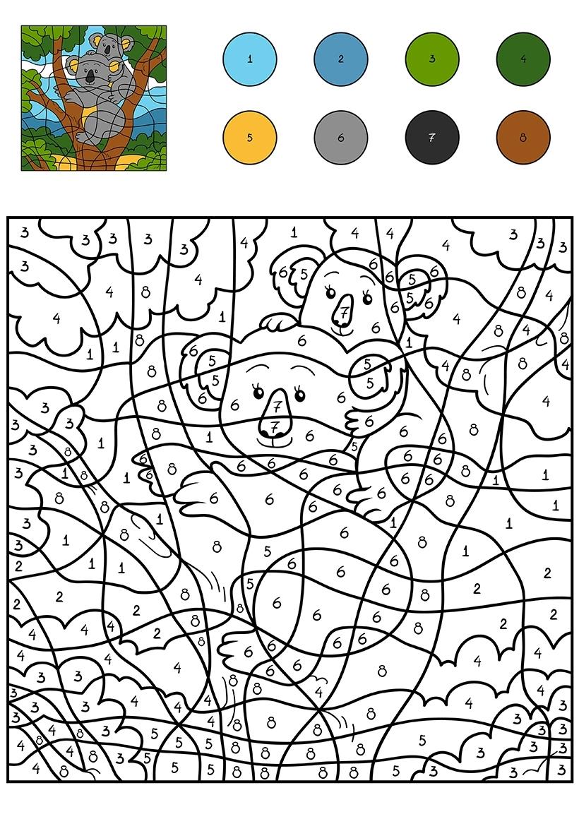 Раскраска Коала по цифрам распечатать или скачать бесплатно