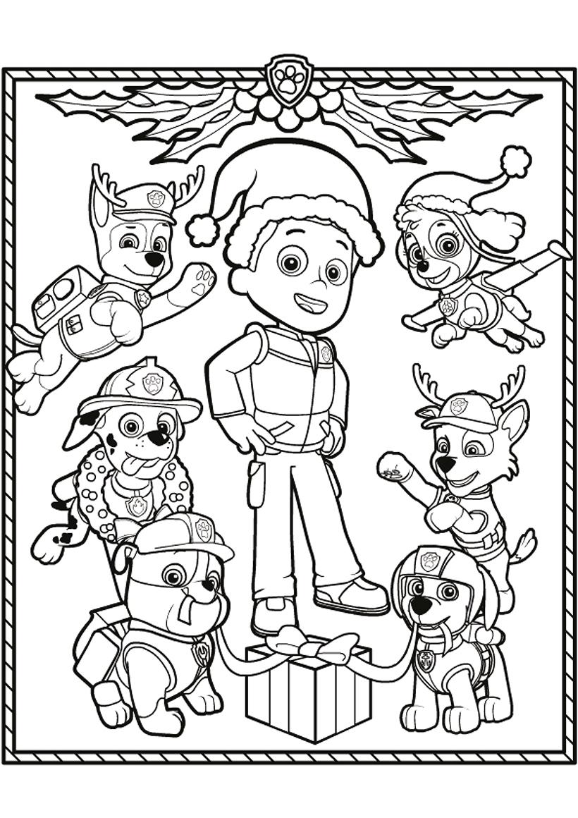 Раскраска Щенячий патруль на Рождество распечатать или ...