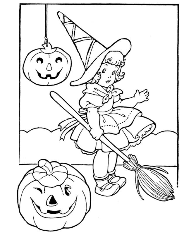 Раскраска Девочка на Хэллоуин распечатать или скачать ...