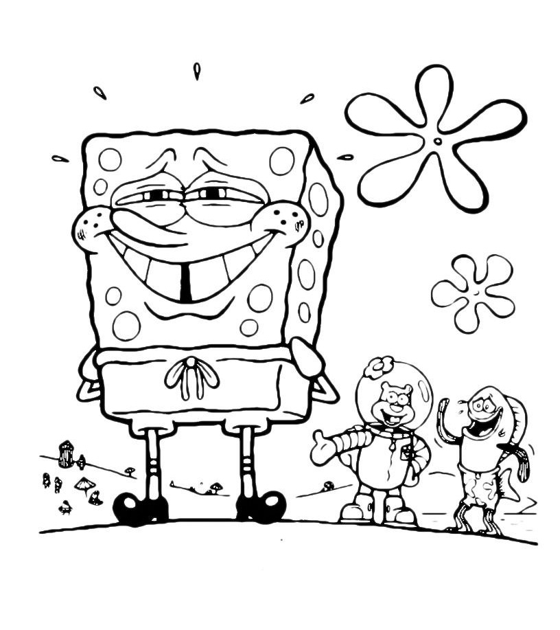 Раскраска Усмешка Губки Боба распечатать или скачать бесплатно