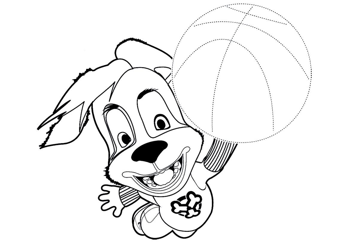 Раскраска Дружок с мячом по точкам распечатать или скачать ...