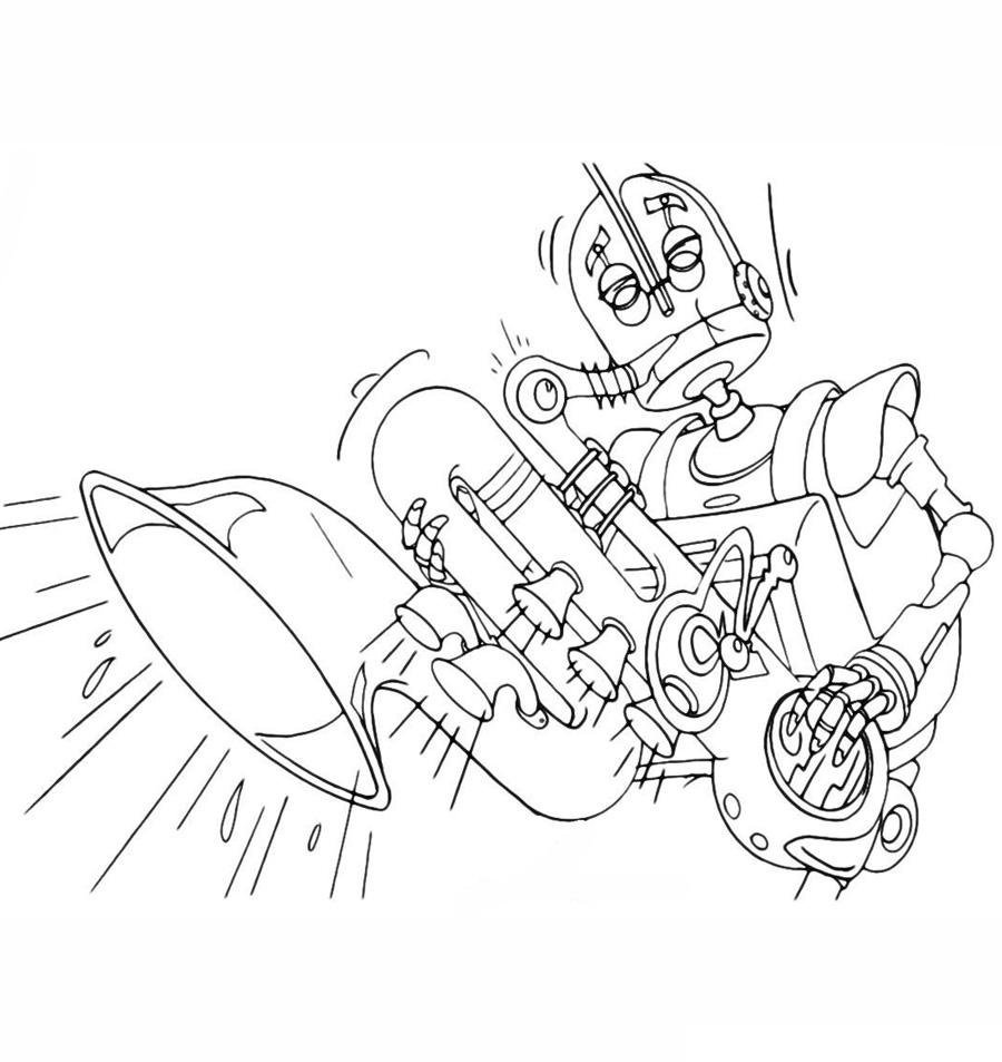 Раскраска Робот играет на саксофоне распечатать или ...