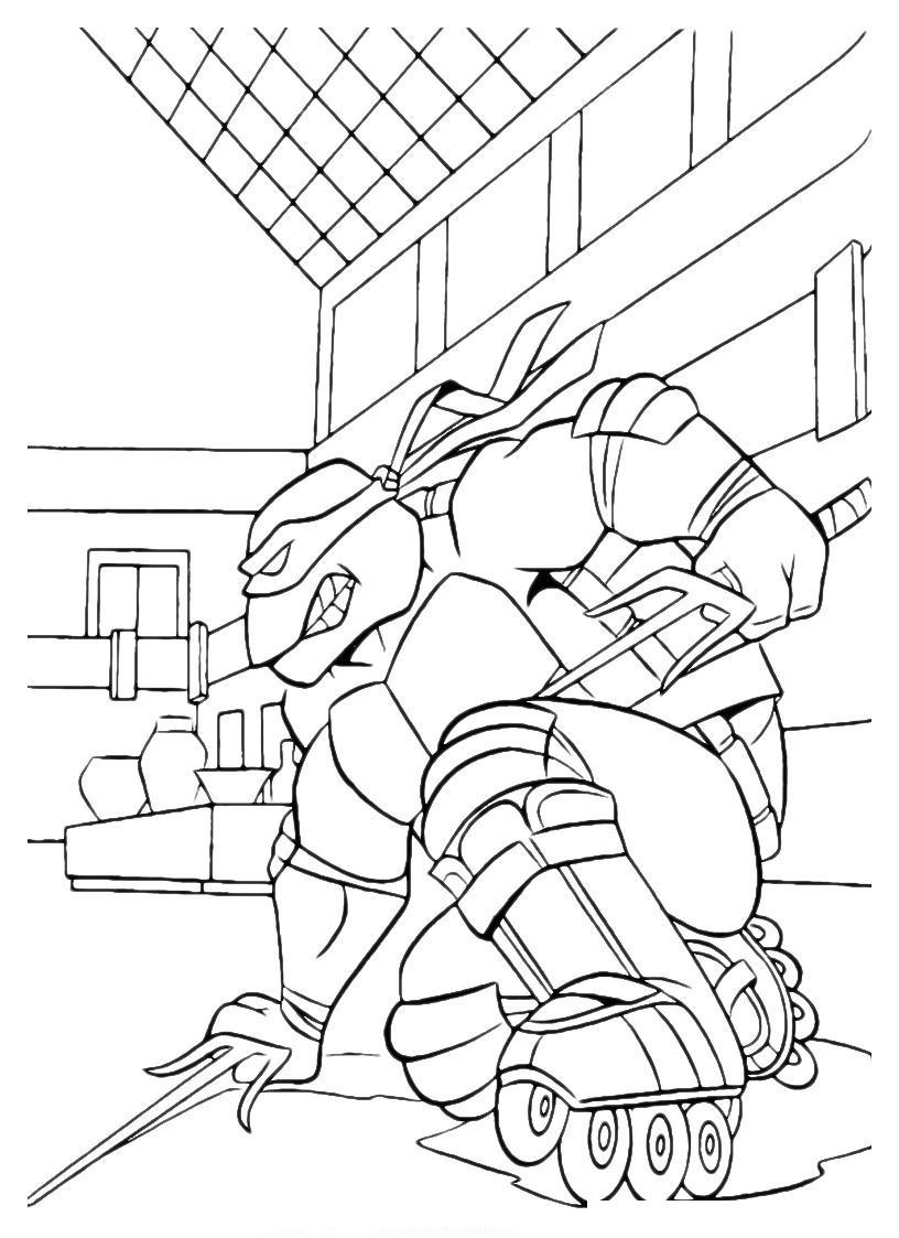 Раскраска Рафаэль на роликовых коньках распечатать или ...
