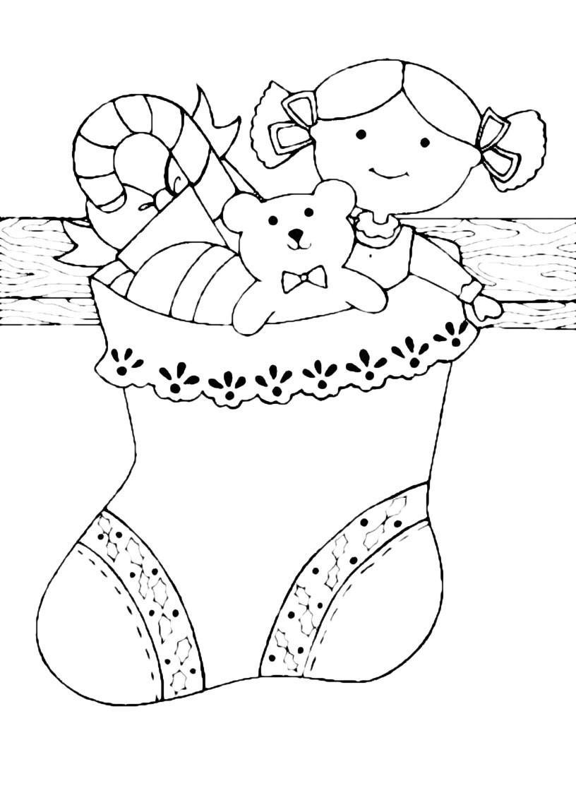 Раскраска Большой рождественский носок с игрушками ...