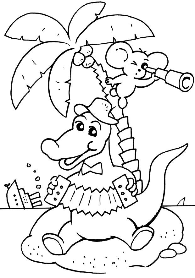 Раскраска Крокодил Гена и Чебурашка на острове распечатать ...