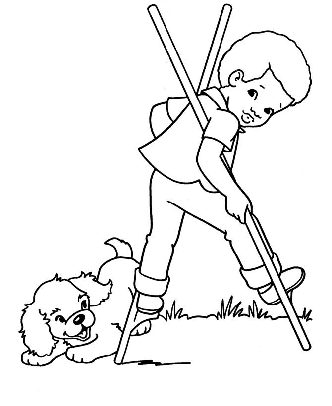 Раскраска Собака и мальчик на ходулях распечатать или ...