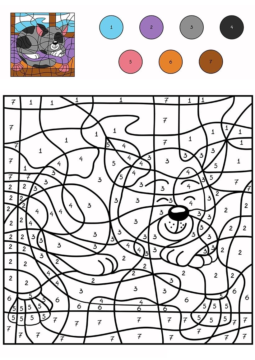 Раскраска Котенок по цифрам распечатать или скачать бесплатно
