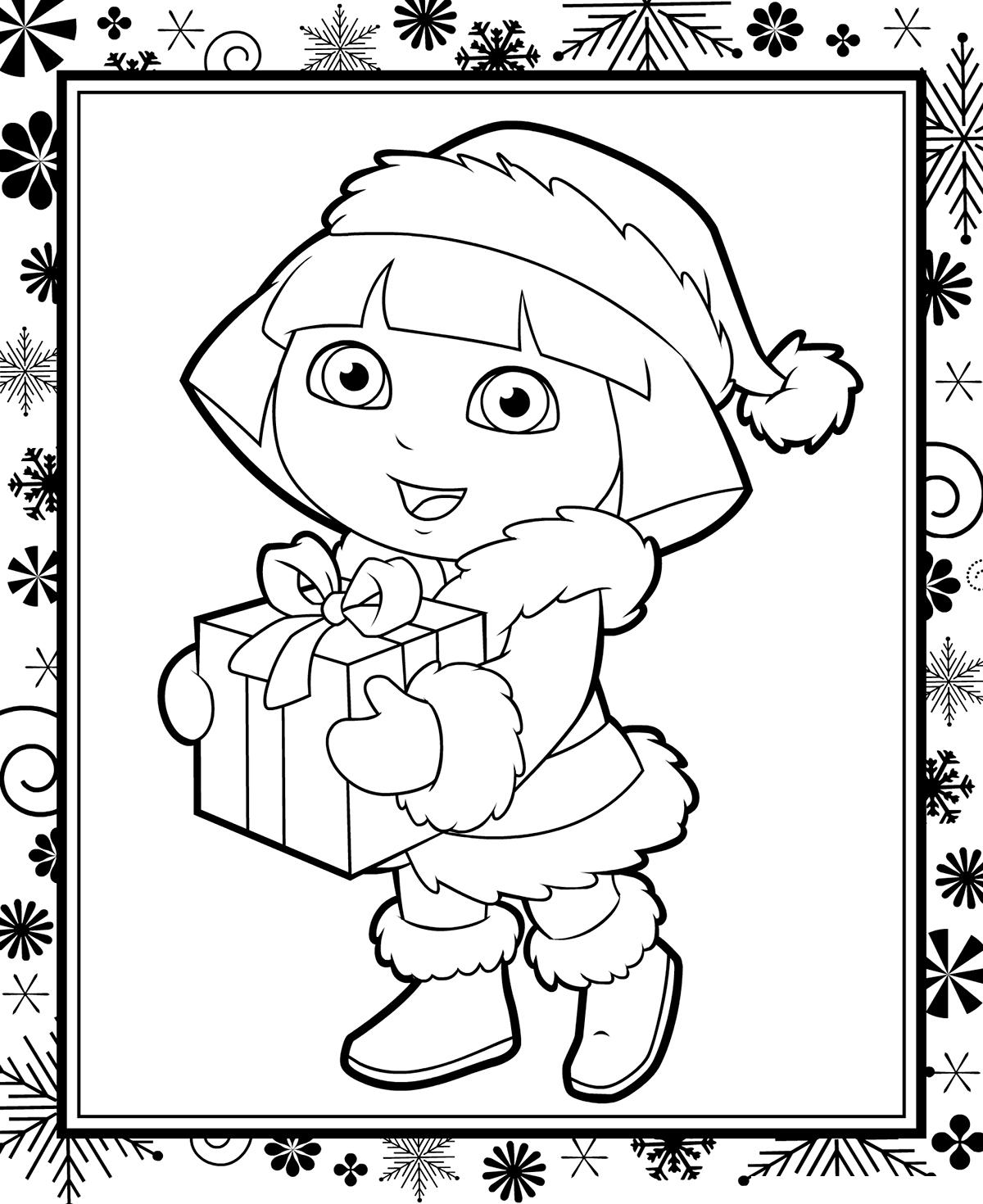 Раскраска Даша-путешественница и Новый год распечатать или ...